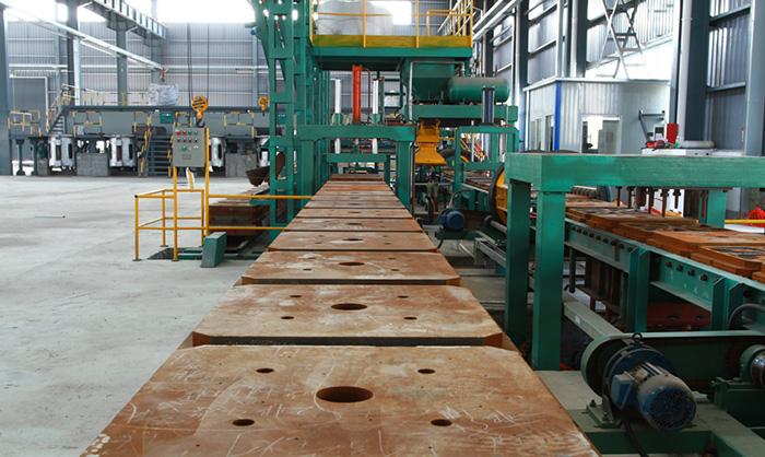Iron mold sand - coated crankshaft casting line